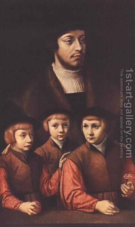 Portrait of a Man with Three Sons c. 1530 by Barthel Bruyn - Reproduction Oil Painting