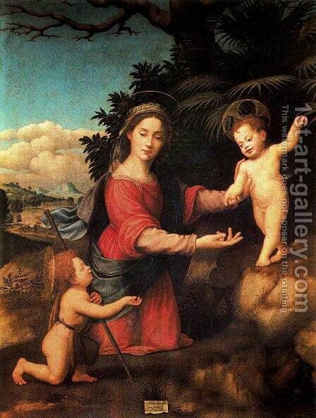 Virgin and Child with the Infant St John the Baptist 1520 by Giuliano Bugiardini - Reproduction Oil Painting