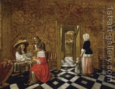 Merry Company at a Table by Hendrick Van Der Burch - Reproduction Oil Painting