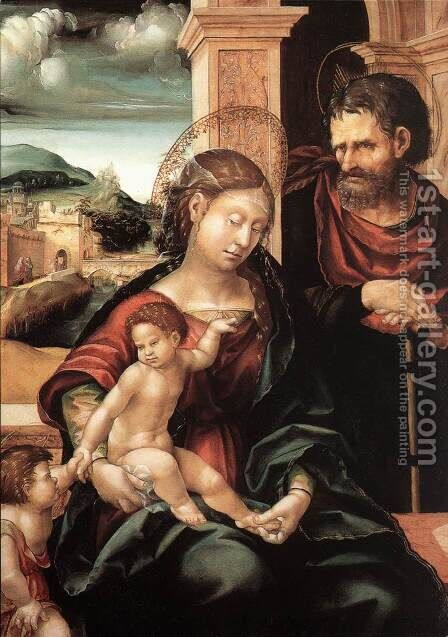 Holy Family with the Child St John c. 1525 by Hans, the elder Burgkmair - Reproduction Oil Painting