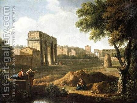 Rome- A View of the Forum 1720s by Giovanni Battista Busiri - Reproduction Oil Painting