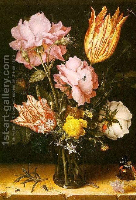 Bouquet of Flowers on a Stone Ledge 1620 by Christoffel van den Berghe - Reproduction Oil Painting