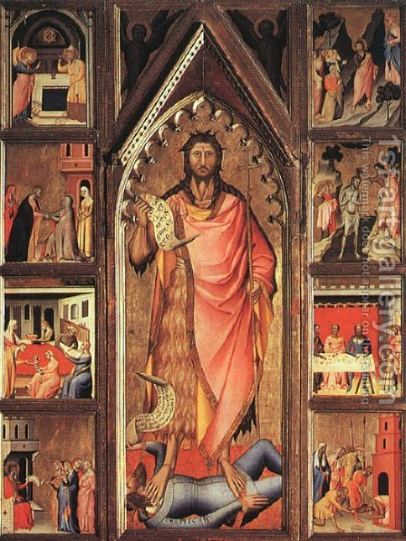 Altarpiece of the Baptist 1360-70 by Giovanni del Biondo - Reproduction Oil Painting
