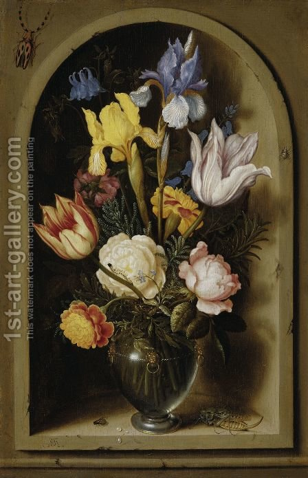 Flowers in a Glass Vase, approx. 1619 by Ambrosius the Elder Bosschaert - Reproduction Oil Painting