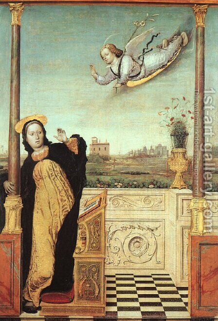 The Annunciation by Carlo di Braccesco - Reproduction Oil Painting