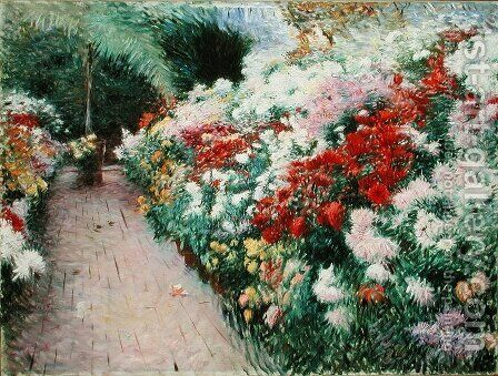 Chrysanthemums 1888 by Dennis Miller Bunker - Reproduction Oil Painting
