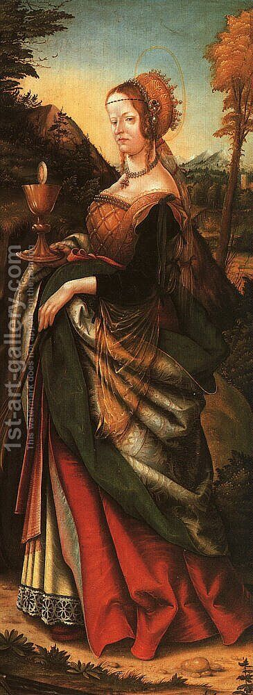 St. Barbara 1518 by Hans, the elder Burgkmair - Reproduction Oil Painting