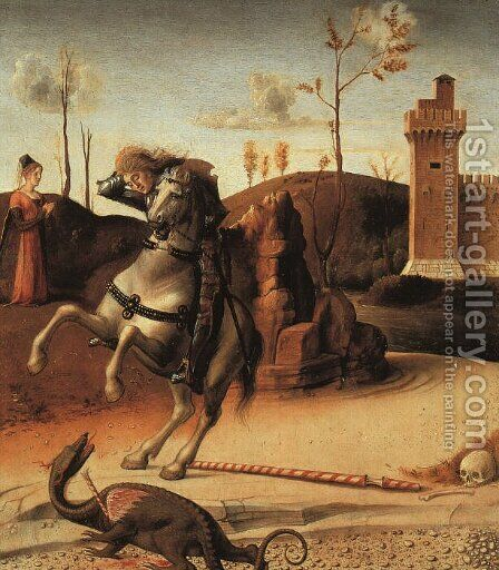 Pesaro Altarpiece, detail of the predella featuring St. George Fighting the Dragon 1470s by Giovanni Bellini - Reproduction Oil Painting