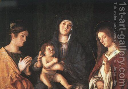 The Virgin and Child with Two Saints 1490 by Giovanni Bellini - Reproduction Oil Painting
