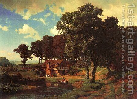 Rustic Mill 1855 by Albert Bierstadt - Reproduction Oil Painting