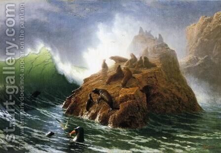Seal Rock 1872 by Albert Bierstadt - Reproduction Oil Painting