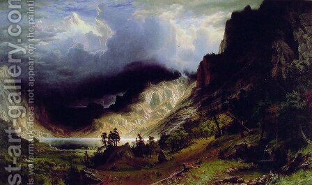 Storm in the Rocky Mountains, Mt. Rosalie, published 1869 by Albert Bierstadt - Reproduction Oil Painting