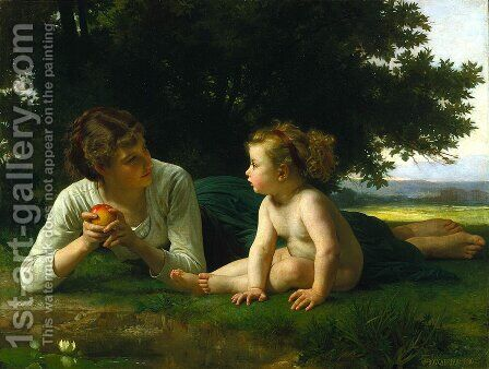 Temptation 1880 by William-Adolphe Bouguereau - Reproduction Oil Painting