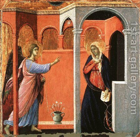 Annunciation 1308-11 by Duccio Di Buoninsegna - Reproduction Oil Painting