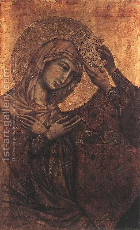 Coronation of the Virgin 1308-11 by Duccio Di Buoninsegna - Reproduction Oil Painting