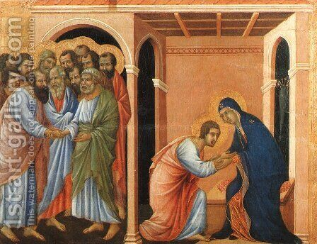 Parting from St John 1308-11 by Duccio Di Buoninsegna - Reproduction Oil Painting