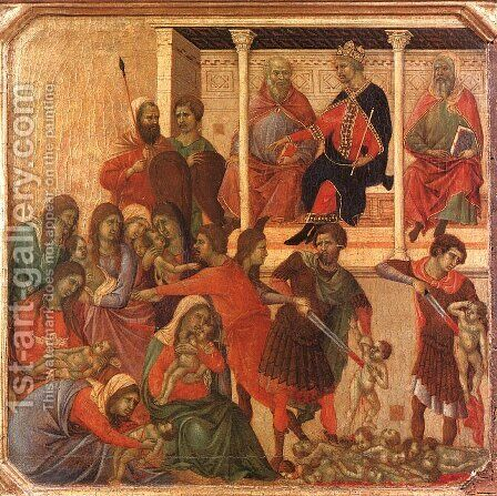 Slaughter of the Innocents 1308-11 by Duccio Di Buoninsegna - Reproduction Oil Painting