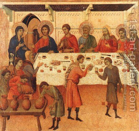 Wedding at Cana 1308-11 by Duccio Di Buoninsegna - Reproduction Oil Painting