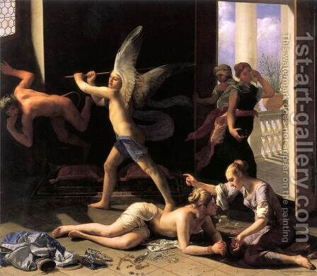 Martha Rebuking Mary for her Vanity after 1660 by Guido Cagnacci - Reproduction Oil Painting