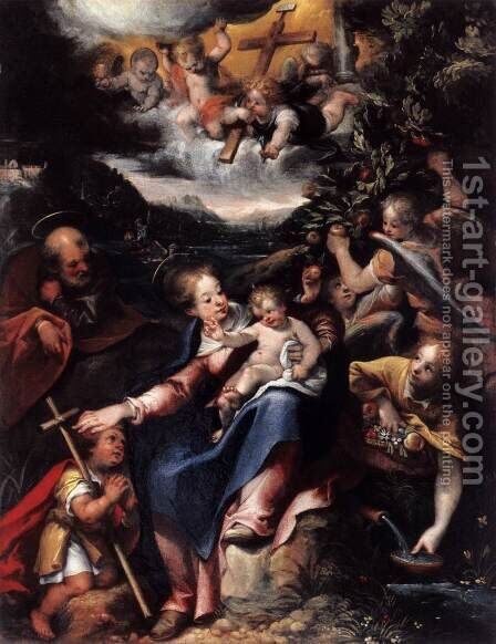 The Holy Family with the Infant St John the Baptist in a Landscape 1590s by Denys Calvaert - Reproduction Oil Painting