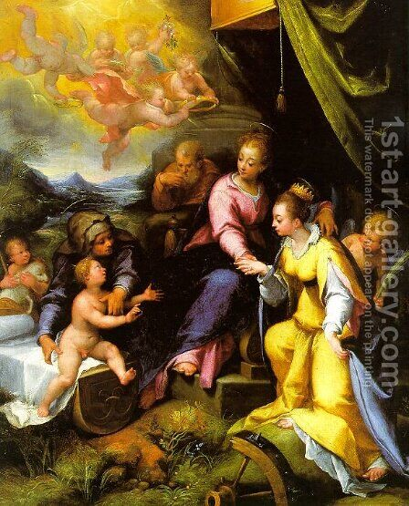The Mystic Marriage of St. Catherine 1490 by Denys Calvaert - Reproduction Oil Painting