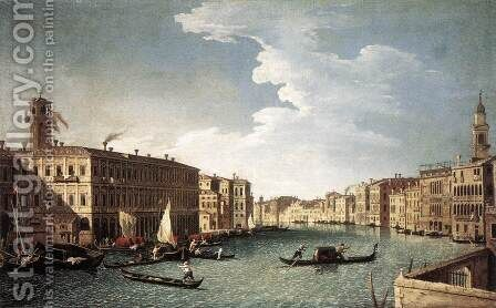 The Grand Canal with the Fabbriche Nuove at Rialto 1734-37 by Bernardo Canal - Reproduction Oil Painting