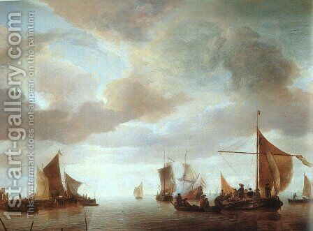 Ships on a Calm Sea near Land by Jan Van De Capelle - Reproduction Oil Painting