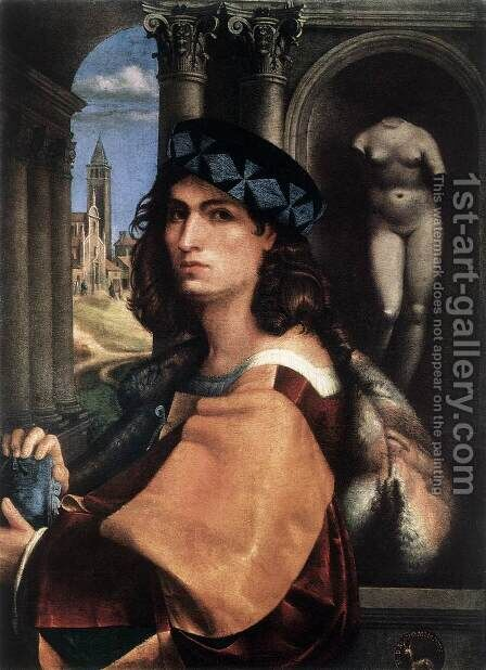 Portrait of a Man 1511 by Domenico CAPRIOLO - Reproduction Oil Painting