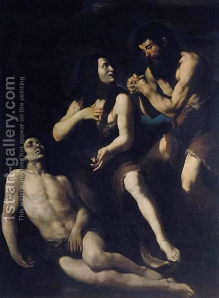 Lamentation of Adam and Eve on the Dead Abel by Giovanni Battista Caracciolo - Reproduction Oil Painting