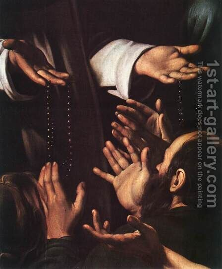 Madonna del Rosario (detail 2) 1607 by Caravaggio - Reproduction Oil Painting