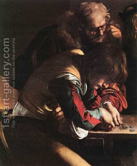 The Calling of Saint Matthew (detail 1) 1599-1600 by Caravaggio - Reproduction Oil Painting