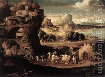 Landscape with Magicians c. 1525 by Girolamo da Carpi - Reproduction Oil Painting