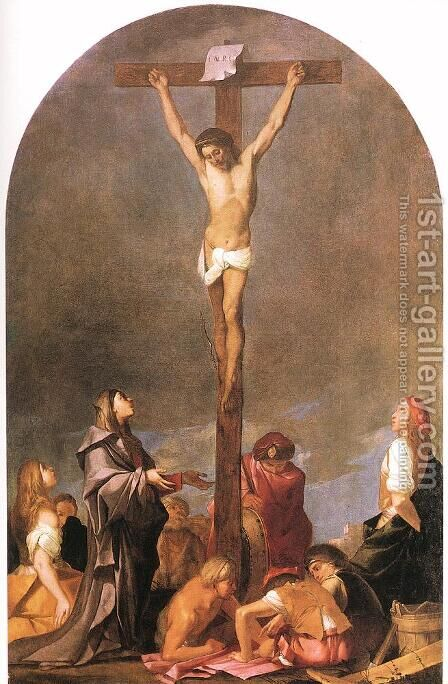 Crucifixion c. 1648 by Giulio Carpioni - Reproduction Oil Painting