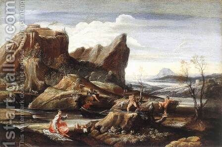 Landscape with Bathers c. 1616 by Antonio Carracci - Reproduction Oil Painting