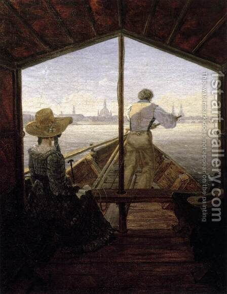 A Gondola on the Elbe near Dresden 1827 by Carl Gustav Carus - Reproduction Oil Painting