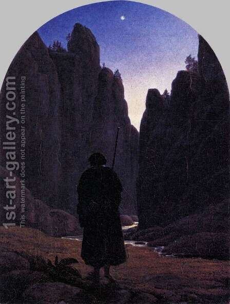 Pilgrim in a Rocky Valley c. 1820 by Carl Gustav Carus - Reproduction Oil Painting
