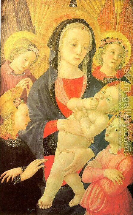 The Virgin & Child Surrounded by Four Angels by Master of the Castello Nativity - Reproduction Oil Painting