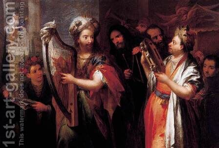 King David Playing the Zither by Andrea Celesti - Reproduction Oil Painting