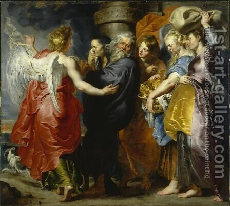 The Departure of Lot and his Family from Sodom by Rubens - Reproduction Oil Painting