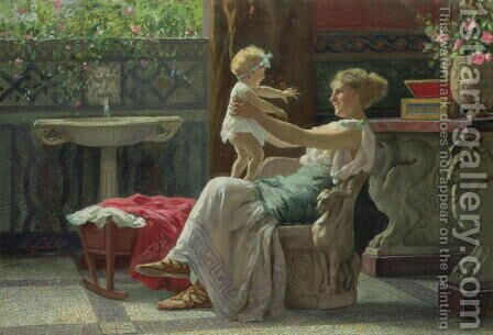 Mother's Darling by Guglielmo Zocchi - Reproduction Oil Painting