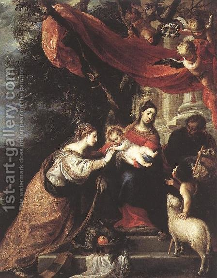 The Mystic Marriage of St Catherine (2) 1660 by Mateo the Younger Cerezo - Reproduction Oil Painting