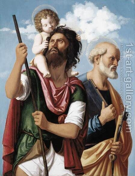 St Christopher with the Infant Christ and St Peter 1504-06 by Giovanni Battista Cima da Conegliano - Reproduction Oil Painting