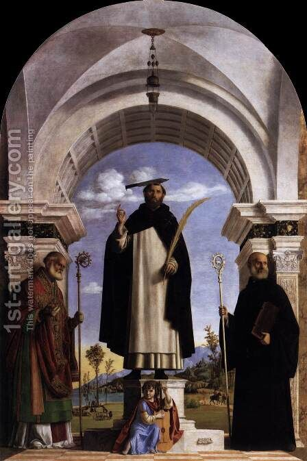 St Peter Martyr with St Nicholas of Bari, St Benedict and an Angel Musician 1504 by Giovanni Battista Cima da Conegliano - Reproduction Oil Painting