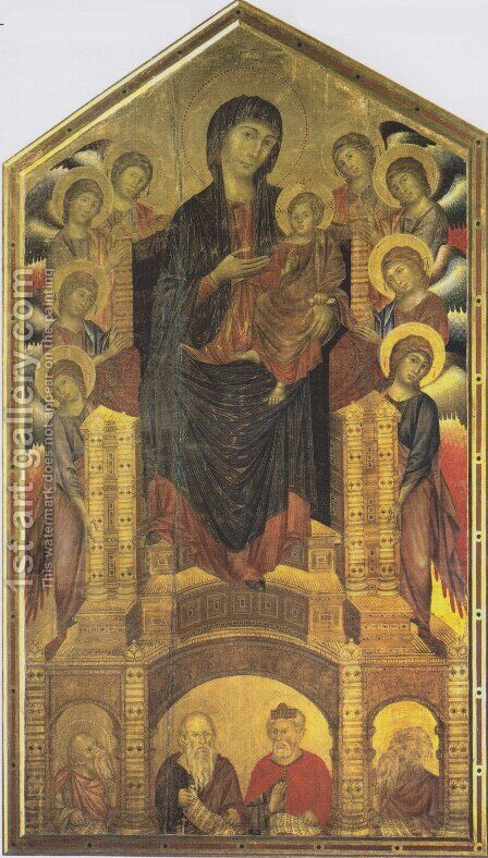 The Madonna in Majesty (Maesta) 1285-86 by (Cenni Di Peppi) Cimabue - Reproduction Oil Painting