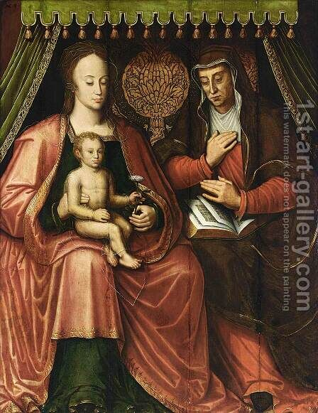 Virgin and Child with St Anne by Antoon Claeissens - Reproduction Oil Painting