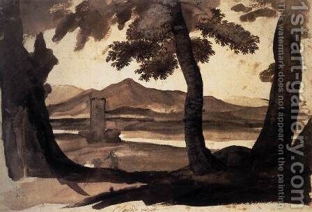 View of the Campagna by Claude Lorrain (Gellee) - Reproduction Oil Painting