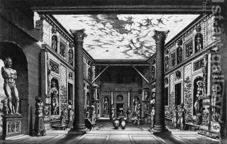 Ancient Sculpture Displayed in s Courtyard 1553 by Hieronymus Cock - Reproduction Oil Painting
