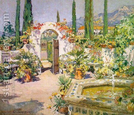 A Santa Barbara Courtyard by Colin Campbell Cooper - Reproduction Oil Painting
