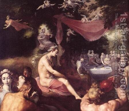The Wedding of Peleus and Thetis (detail 3) 1593 by Cornelis Cornelisz Van Haarlem - Reproduction Oil Painting