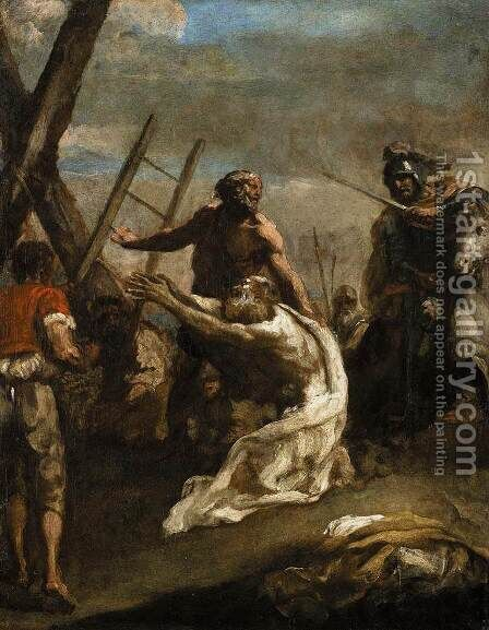 Martyrdom of St Andrew by Guglielmo Cortese (see COURTOIS, Guillaume) - Reproduction Oil Painting